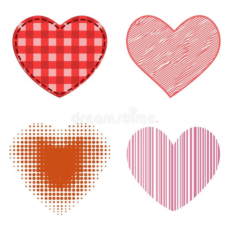 O ícone vermelho do vetor do coração do estilo diferente isolou o símbolo do dia de são valentim do amor e o casamento romântico  ilustração stock