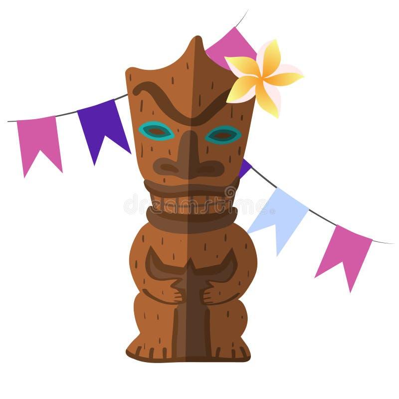O ídolo de madeira havaiano isolou a imagem do vetor dos elementos ilustração stock