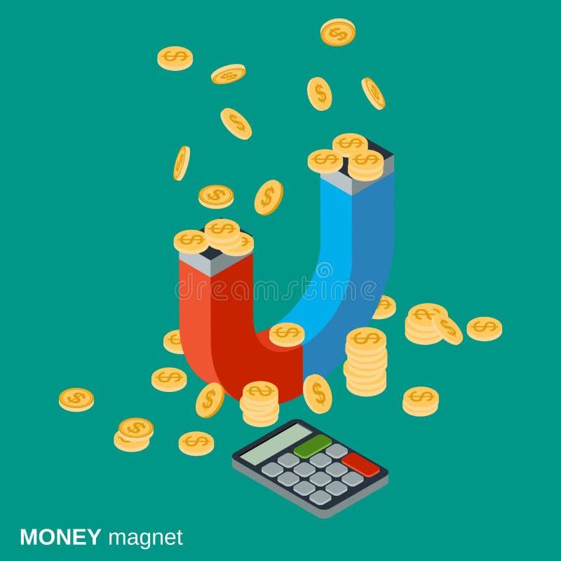 O ímã do dinheiro, investimentos que atraem, financia o conceito do vetor da acumulação ilustração do vetor