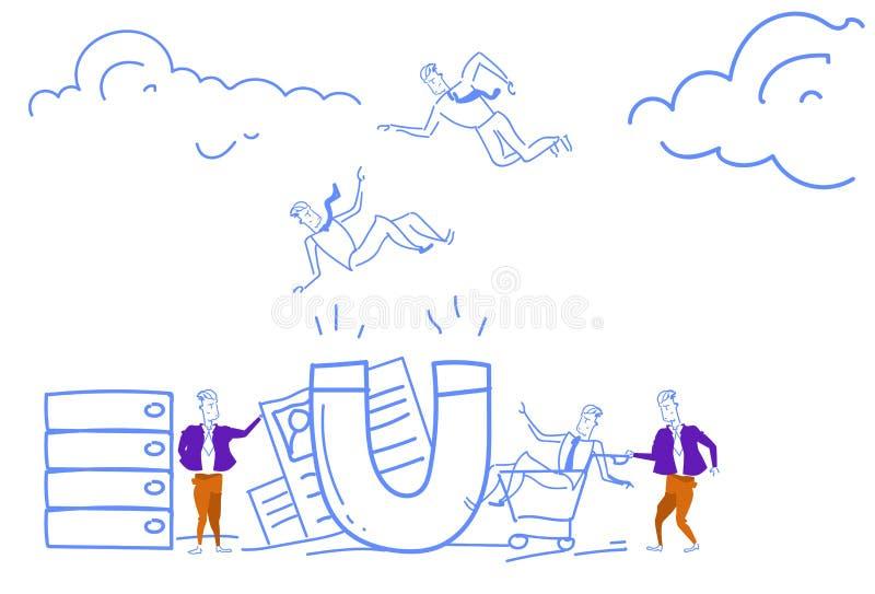 O ímã gigante dos homens de negócios da retenção do cliente atrai trabalhadores de travamento do resumo do conceito do recrutamen ilustração royalty free