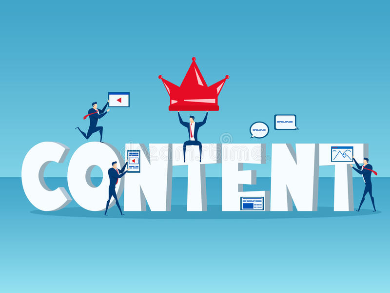 O índice é rei Equipe do negócio com conceito grande do índice da palavra do mercado digital satisfeito com ícones e elementos ilustração stock
