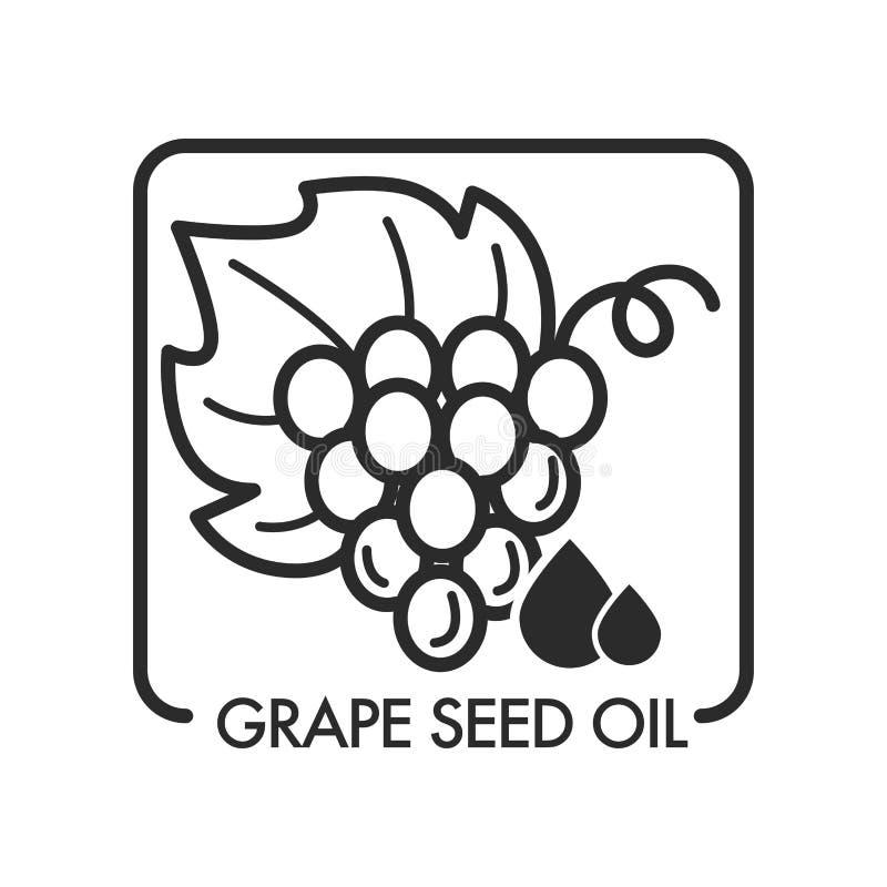 O óleo de semente da uva, esboço monocromático do esboço isolou o logotipo ilustração stock