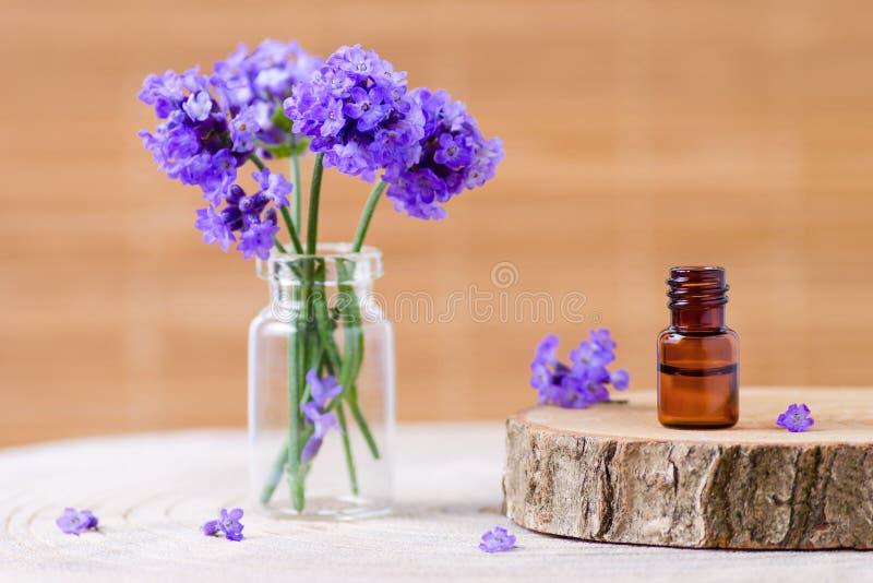 O óleo essencial da alfazema em uma garrafa de vidro marrom e em uma alfazema fresca floresce no fundo marrom imagens de stock royalty free