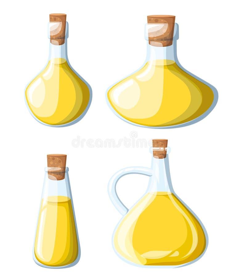 O óleo vegetal classificou as garrafas ajustadas Azeite, ilustração do feijão de soja do milho do girassol Cozinhando a página pi ilustração royalty free