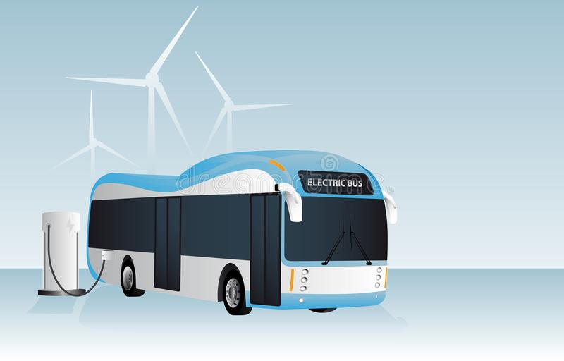 O ônibus bonde está carregando na estação de carregamento ilustração royalty free