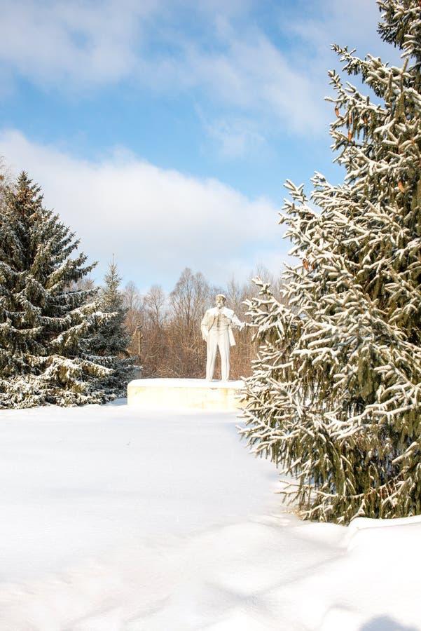 O último monumento da sobrevivência a Lenin, permanecendo em Ucrânia Chernobyl, Pripyat, 2019 fotos de stock