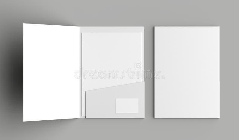 O único bolso do tamanho A4 reforçou o dobrador com a zombaria do cartão ilustração royalty free