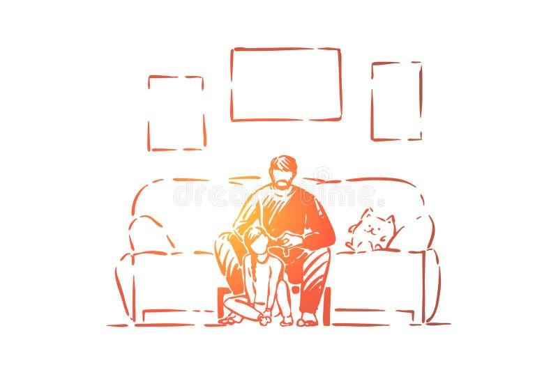 O único pai ajuda a filha a trançar as tranças, a paternidade, o paizinho e a menina internos, o pai e a criança, parenting ilustração royalty free