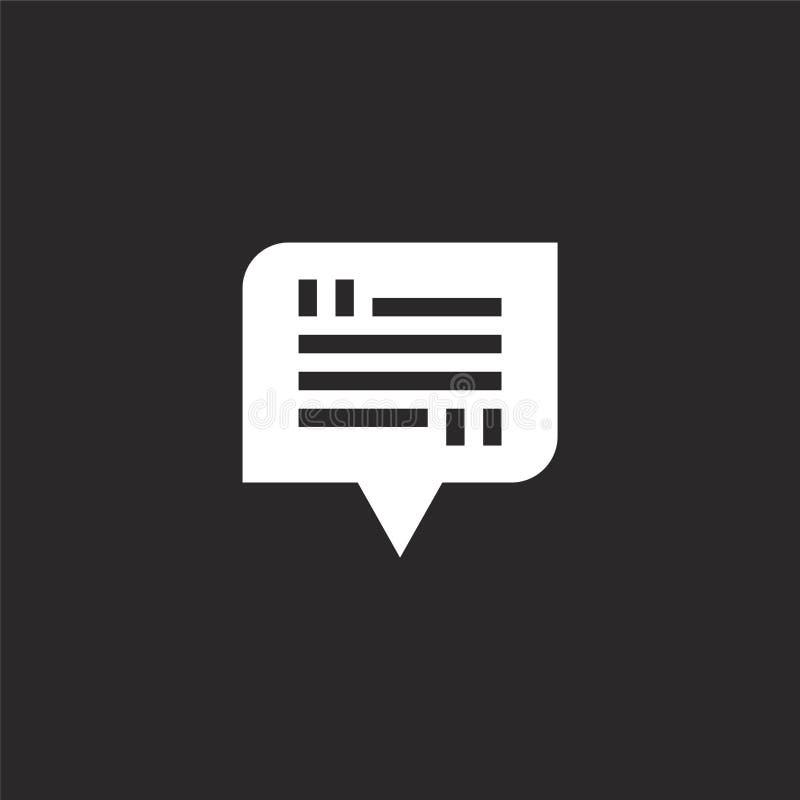 o Γεμισμένο εικονίδιο συνομιλίας για το σχέδιο ιστοχώρου και κινητός, app ανάπτυξη το εικονίδιο συνομιλίας από γεμισμένος ανατροφ διανυσματική απεικόνιση