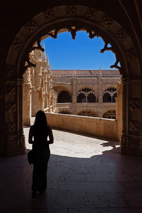 o Μοναστήρι του μοναστηριού της Σάντα Μαρία de Βηθλεέμ aka μοναστηριών ή αβαείων Jeronimos στοκ εικόνες