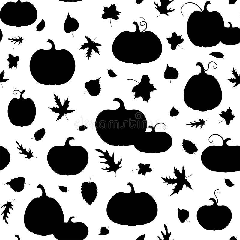 o Σύνολο ποικίλων κολοκυθών και φύλλων φθινοπώρου Σκιαγραφία που απομονώνεται μαύρη διανυσματική απεικόνιση