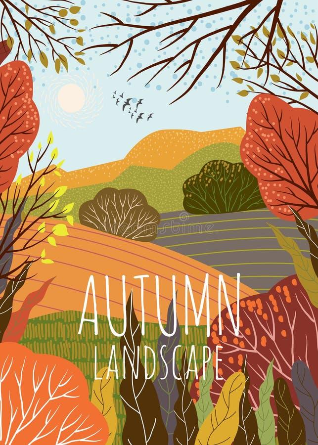 o Χαριτωμένη διανυσματική απεικόνιση του υποβάθρου φύσης με το λόφο, το λιβάδι και το δασικό ελεύθερο σχέδιο διανυσματική απεικόνιση