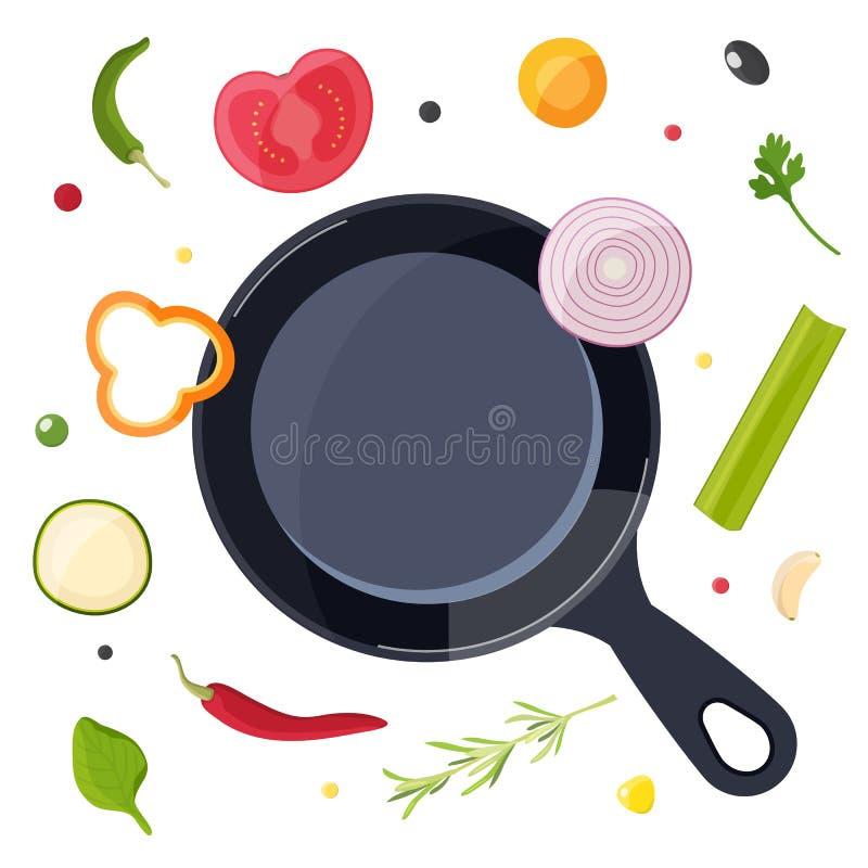 o Еда и лоток Дизайн для кафа, ресторана, урока кулинарии или домашней кухни иллюстрация штока