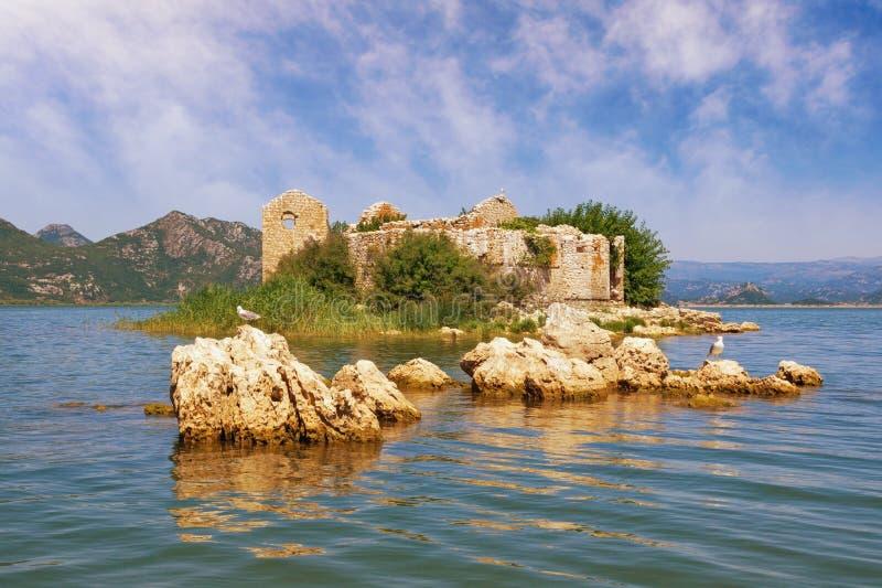 o Живописное озеро с загубленным фортом на небольшом острове Взгляд озера Skadar национальный парк r стоковое фото