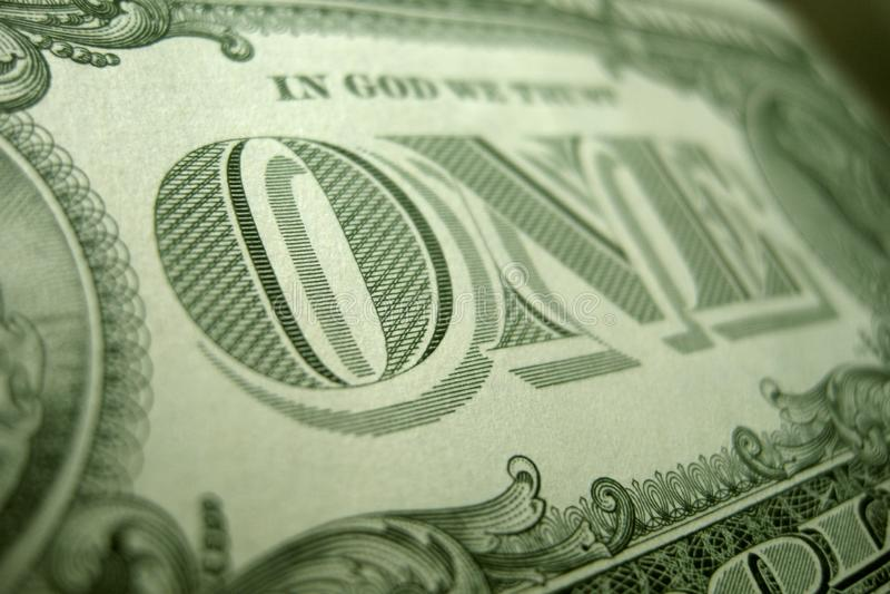 O ОДНОГО фокус этого конца вверх от обратного счета доллара США стоковые изображения rf