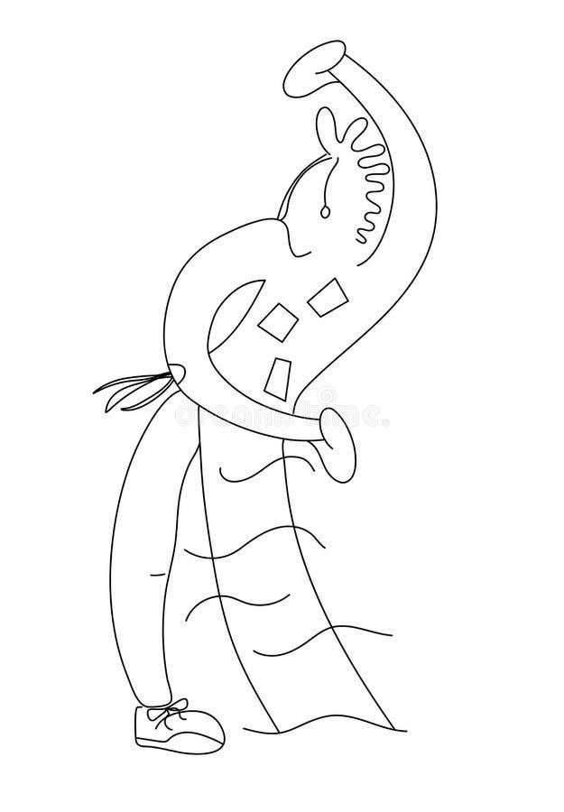 o Черно-белые графики Экстравагантная девушка нарисованная в черной линии на белизне Черно-белые графики бесплатная иллюстрация
