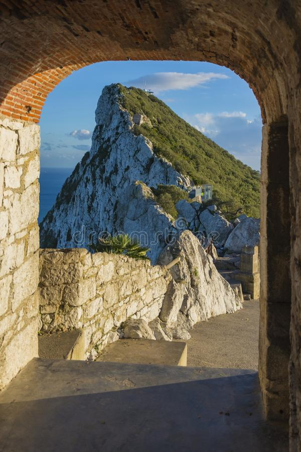 O 'Hara Batterij bovenop de rots van Gibraltar stock afbeelding