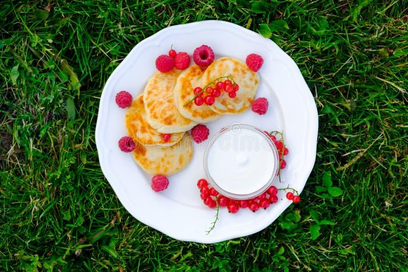 o 与酸性稀奶油和莓的乳酪蛋糕 免版税图库摄影