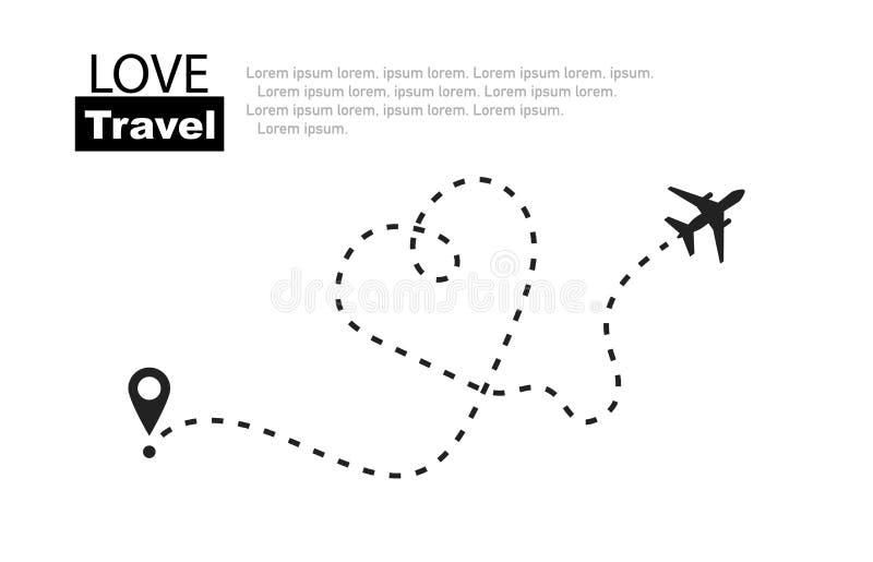 o 浪漫的旅行 在线的平面路线 ?? 向量例证