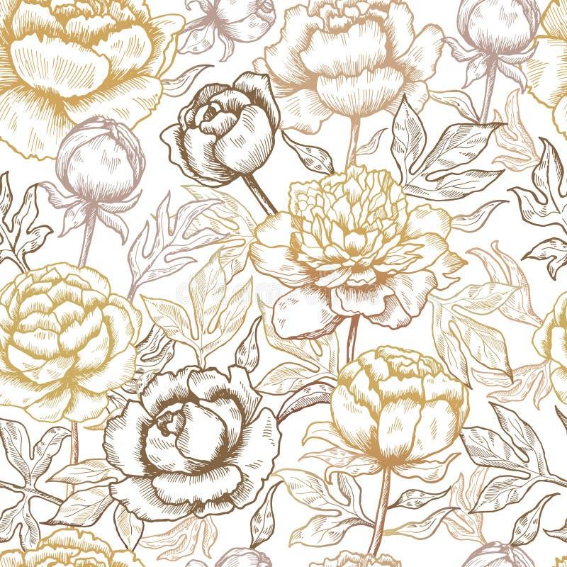 o 牡丹纺织品花和叶子自然传染媒介无缝的背景的设计图片 库存例证