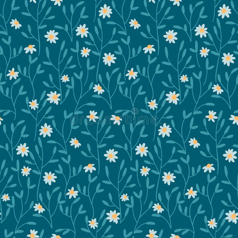 Seamless vector pattern with hand drawn daisy flowers. design for textile. covers, packaging. Seamless vector pattern with hand drawn cute daisy flowers. design royalty free illustration