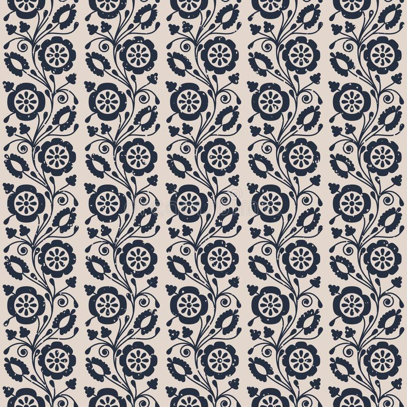 Seamless vector pattern with vintage imprinted flowers. design for packaging, textile, interior. Wallpaper vector illustration
