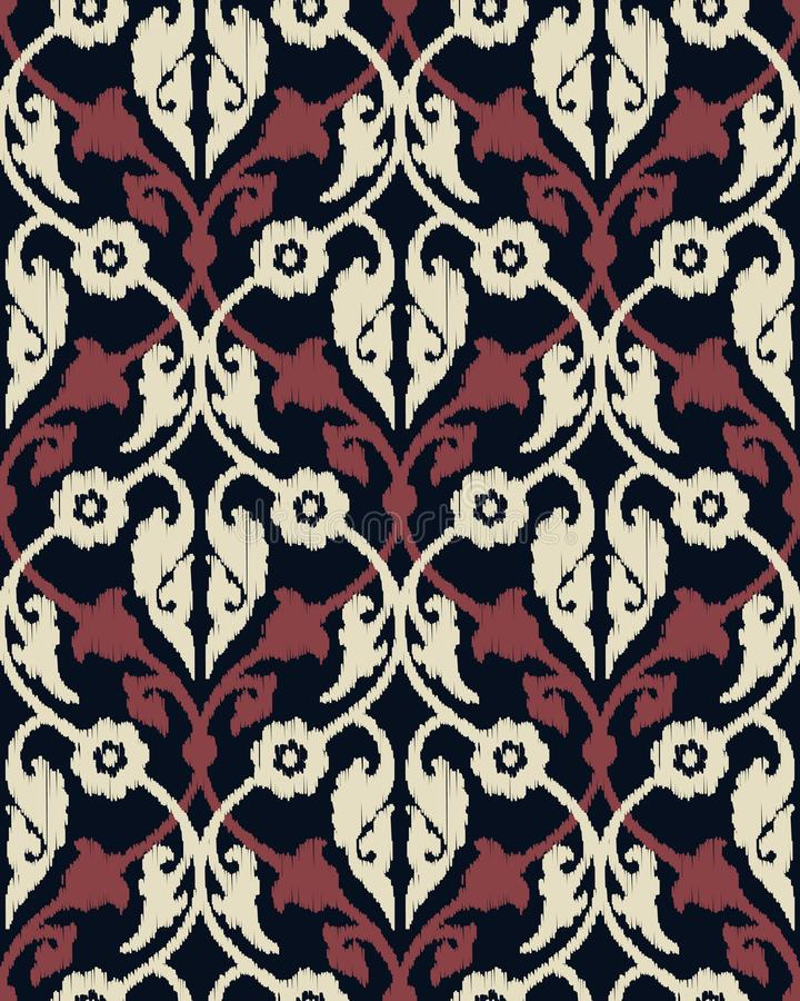 Seamles vector ikat geometric royal pattern design. Seamless template in the swatch panel stock illustration