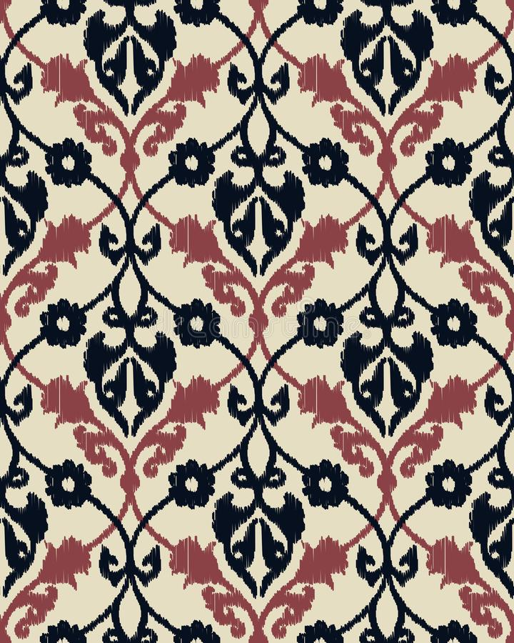 Seamles vector ikat geometric royal pattern design. Seamless template in the swatch panel vector illustration