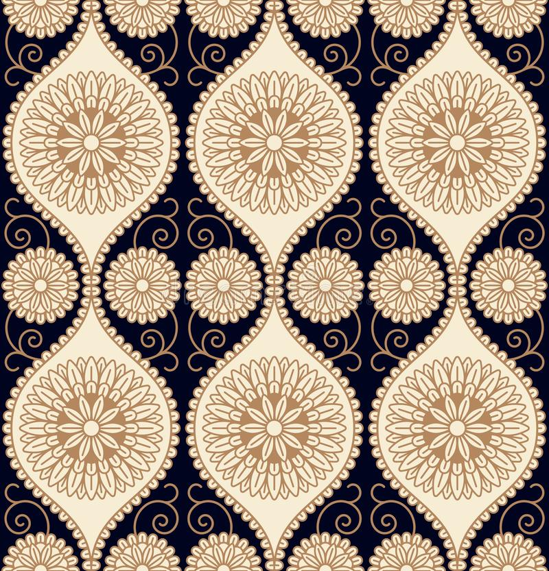 Seamless vector pattern design with circular floral ornament. seamless template in swatch panel stock illustration