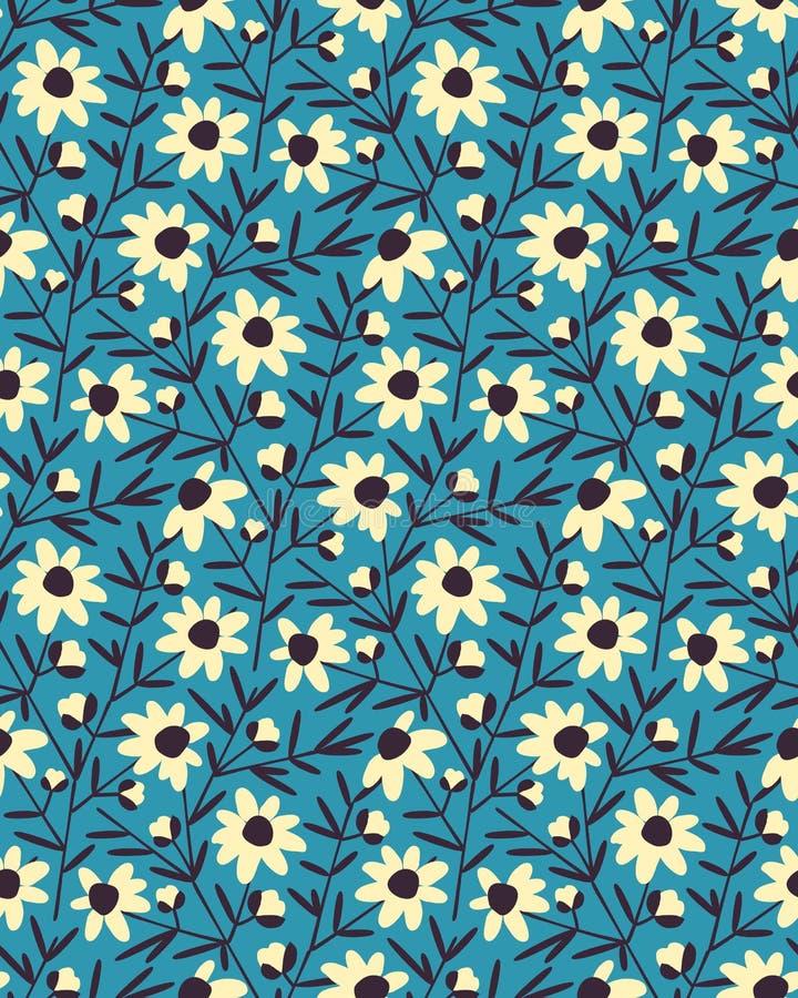 Seamless vector flower summer pattern design. seamless template in swatch panel. Seamless vector flower summer blue pattern design. seamless template in swatch stock illustration