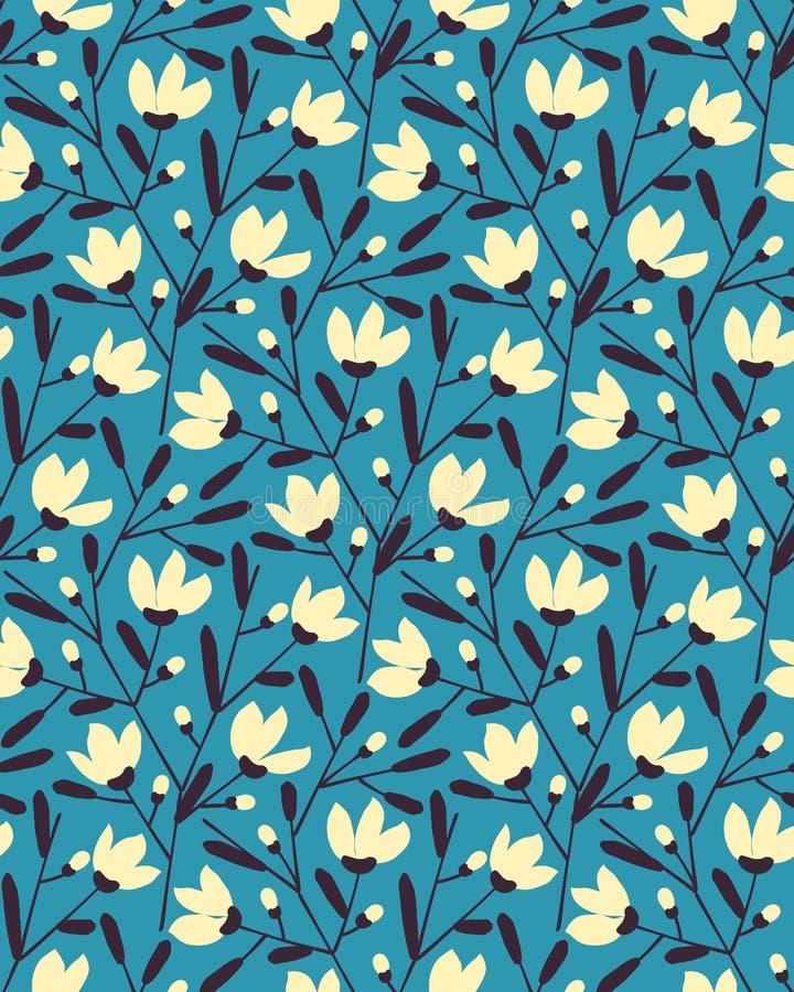 Seamless vector flower summer pattern design. seamless template in swatch panel. Seamless vector flower summer blue pattern design. seamless template in swatch royalty free illustration