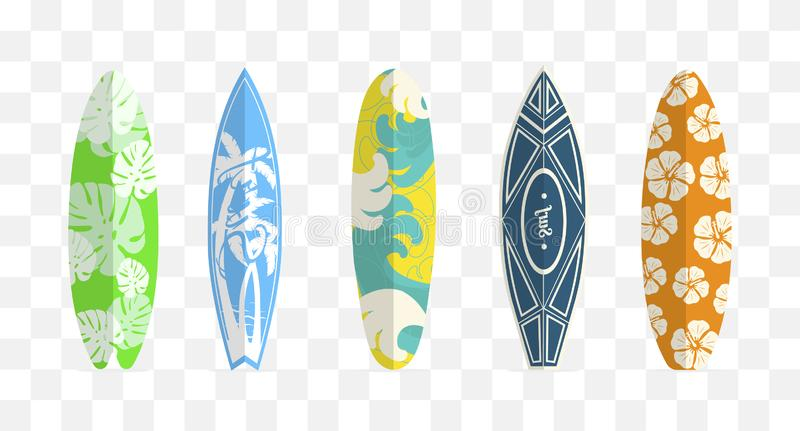 Set of surf boards. Isolated on white background. Vector royalty free illustration