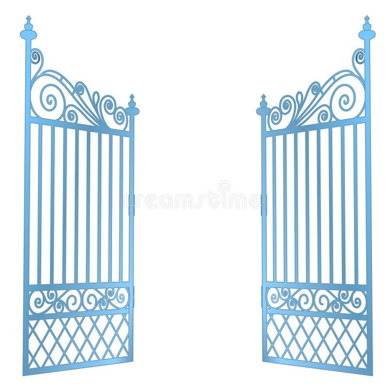 O aço isolado decorou o vetor aberto barroco da porta ilustração royalty free