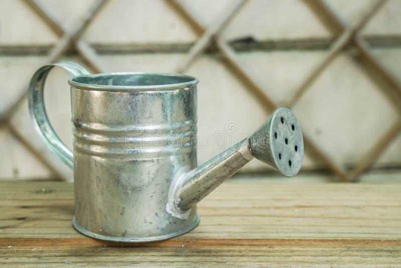 O aço pode florescer o potenciômetro no jardim da casa para plantas molhando fotos de stock royalty free
