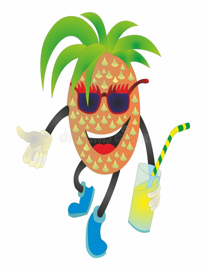 """O abacaxi é o melhor suco do """"do â do verão – 2 ilustração royalty free"""