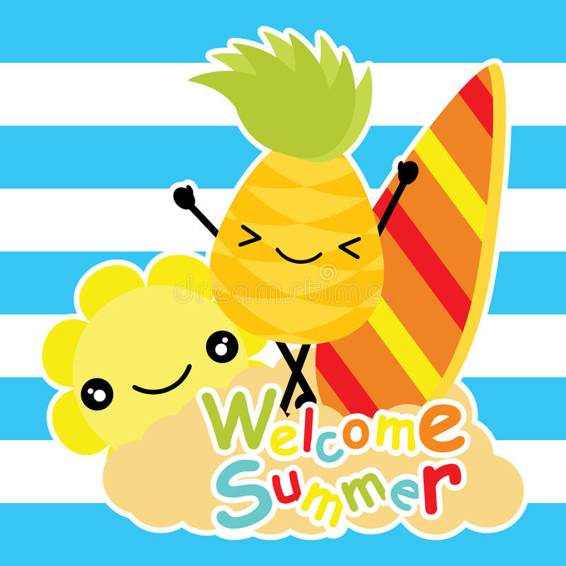 O abacaxi bonito e o sol estão felizes na praia em desenhos animados do fundo, em cartão do verão, em papel de parede, e em cartã ilustração royalty free