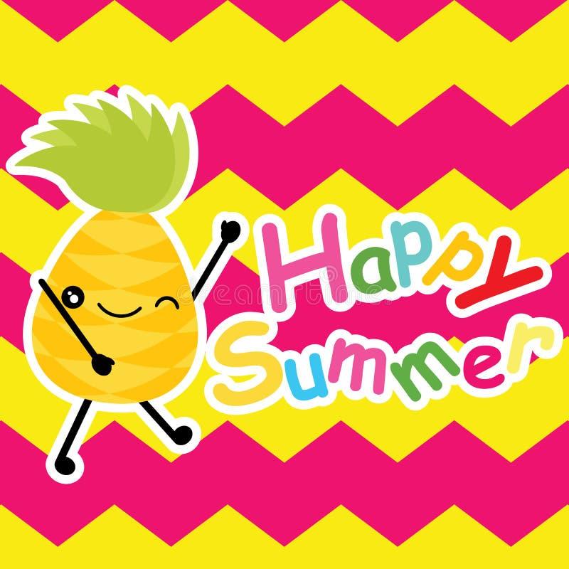 O abacaxi bonito está feliz em desenhos animados do fundo da viga, em cartão do verão, em papel de parede, e em cartão, projeto d ilustração stock