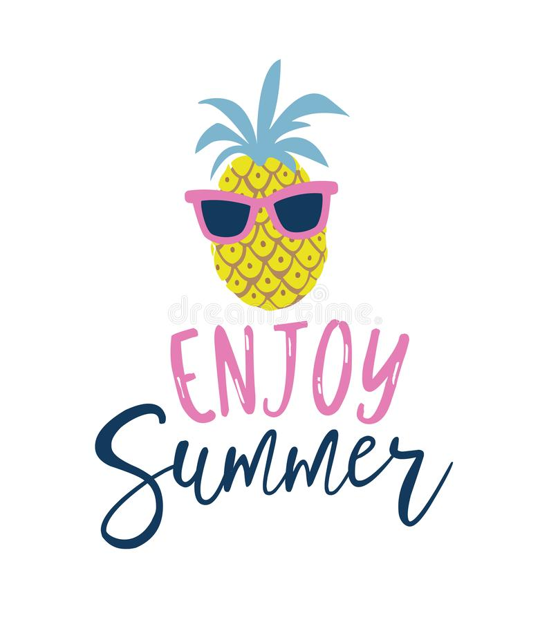 O abacaxi do estilo dos desenhos animados do verão nos óculos de sol etiqueta, logotipo, etiquetas e elementos tirados mão para f ilustração stock
