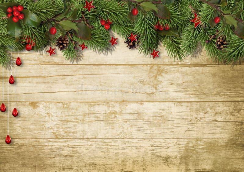 O abeto do Natal ramifica e azevinho no fundo de madeira ilustração do vetor