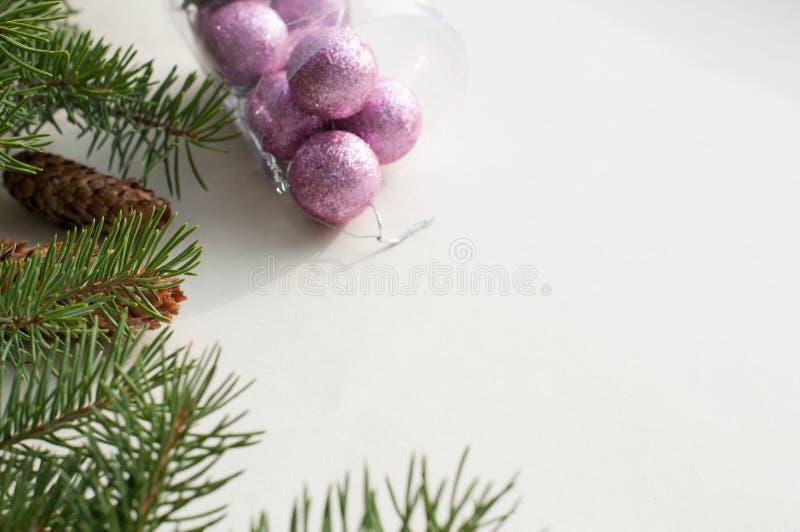 O abeto festivo ramifica com cones de abeto e desenrolar fotografia de stock royalty free