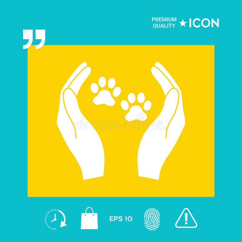 O abrigo pets o ícone do sinal As mãos guardam o símbolo da pata Proteção animal ilustração do vetor