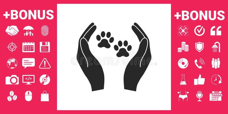 O abrigo pets o ícone do sinal As mãos guardam o símbolo da pata Proteção animal ilustração royalty free