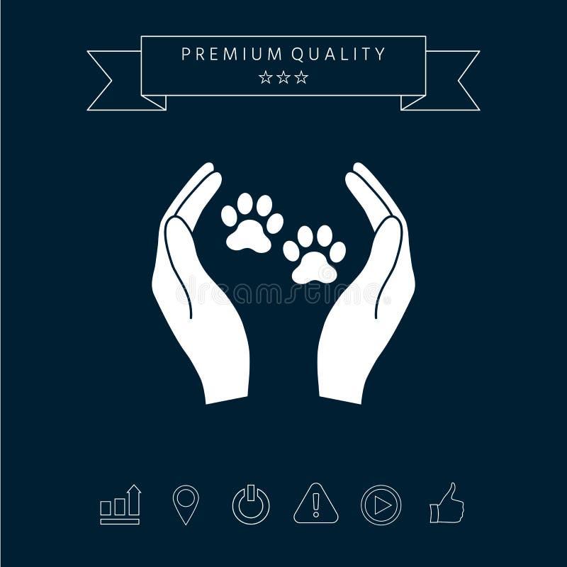 O abrigo pets o ícone do sinal As mãos guardam o símbolo da pata Proteção animal ilustração stock