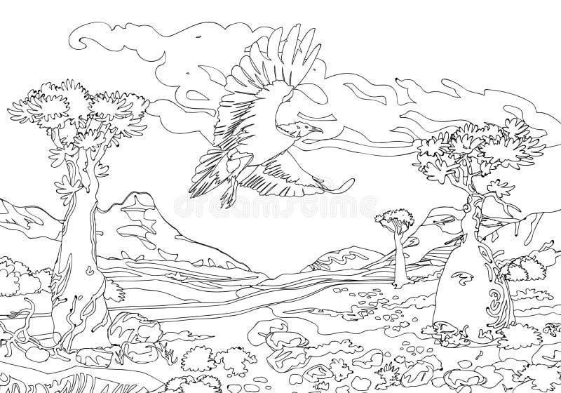O abutre do Socotra da ilha nas montanhas de pedra ilustração stock