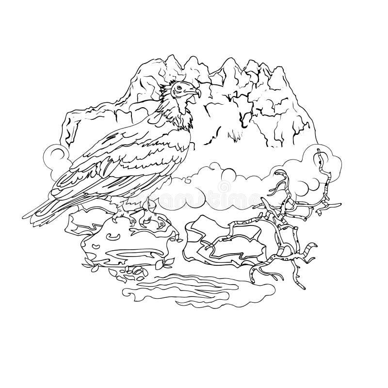 O abutre do Socotra da ilha nas montanhas de pedra ilustração do vetor