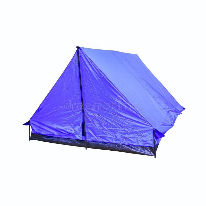 O acampamento azul da acomodação da lona da barraca relaxa no fundo branco fotos de stock