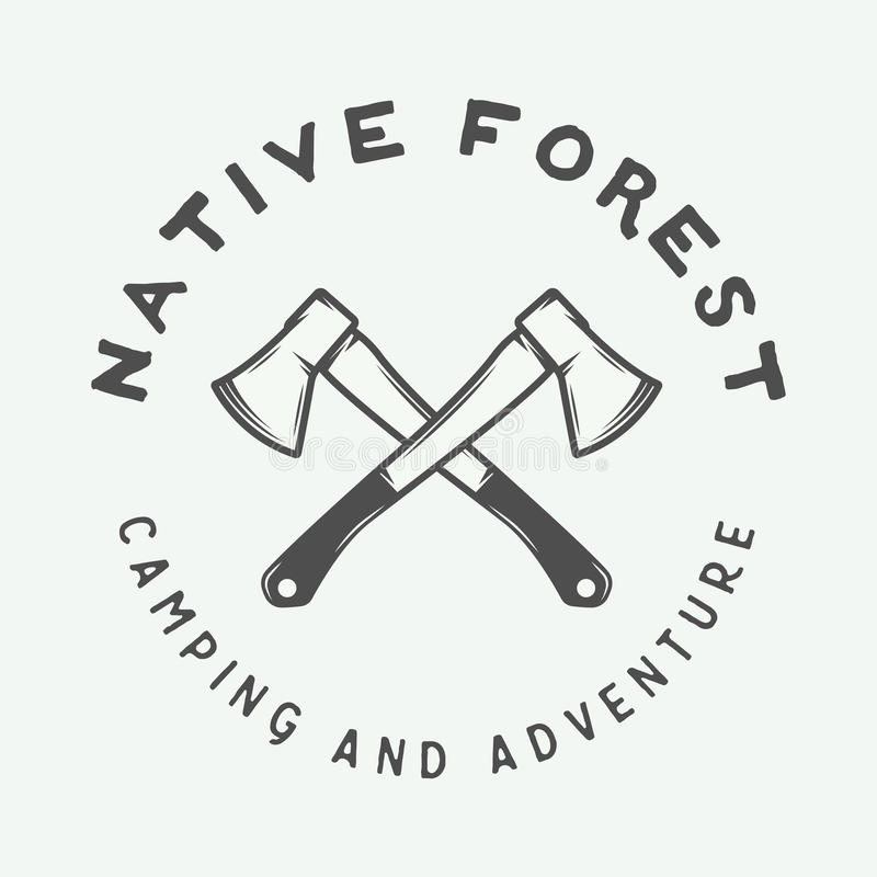 O acampamento do vintage exterior e aventura-se o logotipo, crachá, etiqueta, emblema ilustração royalty free