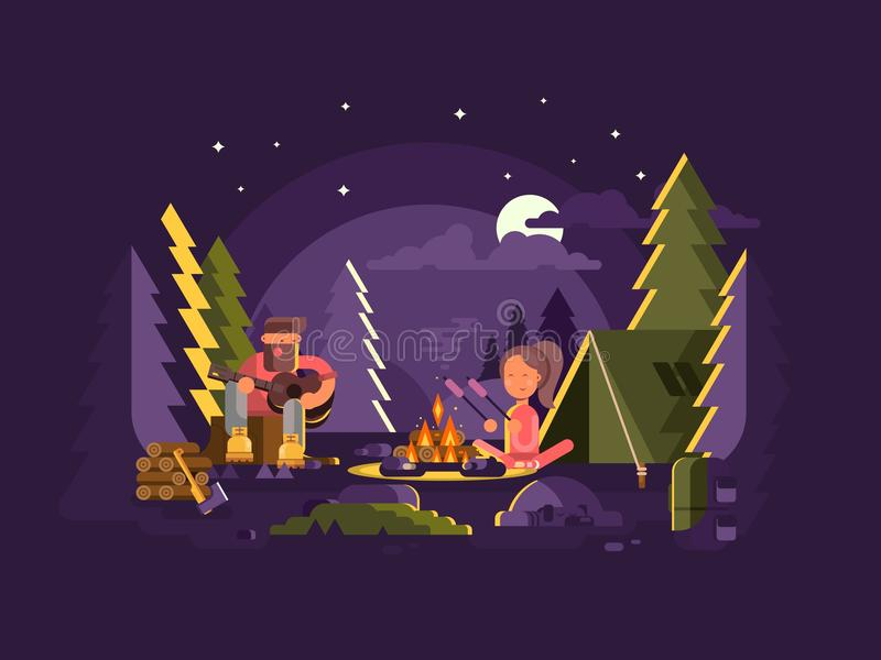 O acampamento está perto de um fogo ilustração royalty free