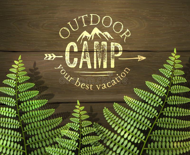 'O acampamento exterior, sinal das suas melhores férias' com samambaia verde folheia no fundo de madeira ilustração royalty free