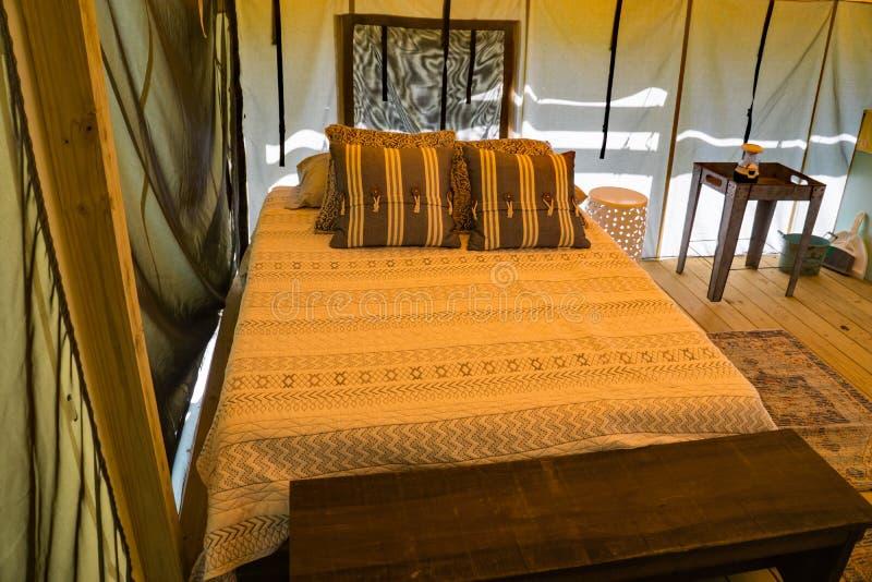 O acampamento luxuoso da cama completa no explora o parque fotografia de stock